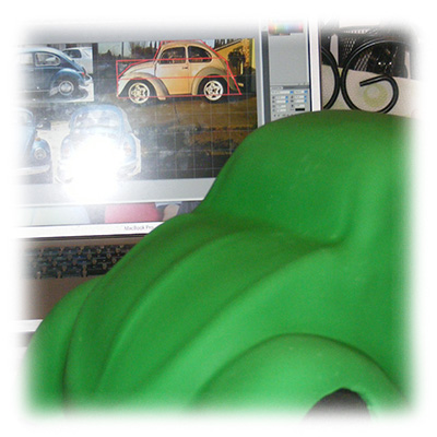 Finishing the Volkswagen Bug Cake Shape